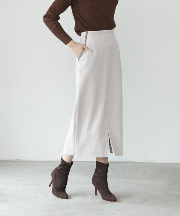 【A/W COLLELCTION 2021掲載】ダブルフェイスフェイクスエードタイトスカート