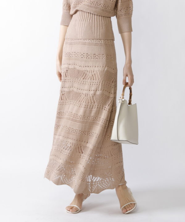 《新色追加》【Spring Collection 2021掲載商品】クロシェニットスカート